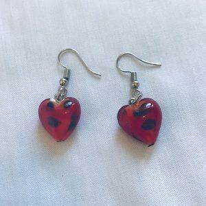 Cherry Red & Black Murano Glass Earrings Handmade
